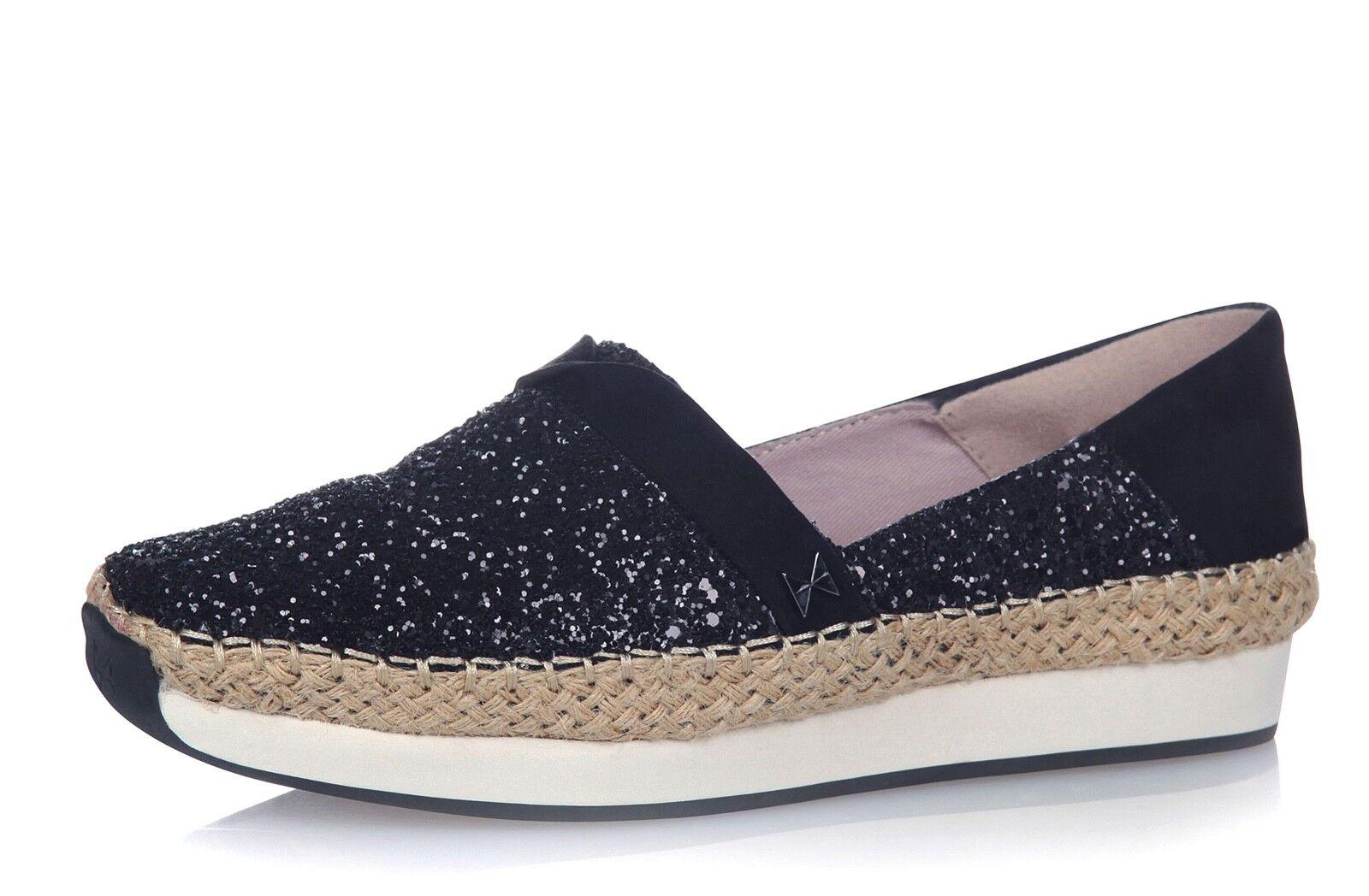 Butterfly Twists NEW Maya black glitter suede platform espadrille shoes size 3-9