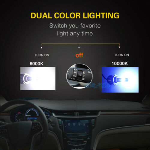 2x H7 LED Fog Light Bulbs Dual//Single Color Driving Lamp Switchback 3K 6K 8K 10K