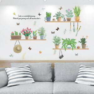 Cartoon-Potted-Plant-Wall-Sticker-Art-Mural-Decals-Home-Living-Room-Decoration