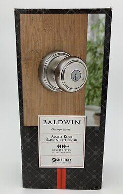 Baldwin Prestige Alcott Entry Knob featuring SmartKey in Satin Nickel