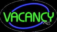 vacancy no Vacancy 30x17 Oval Solid/flash Real Neon Sign W/options 14084