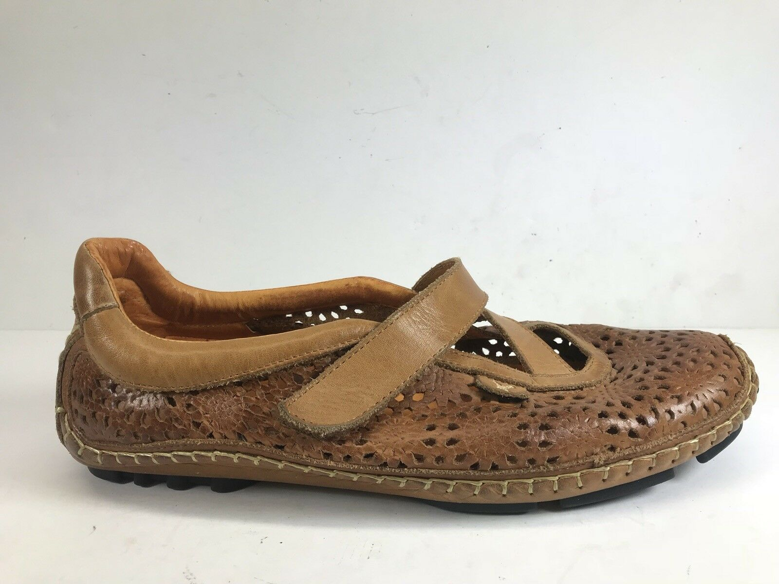 Pikolinos Brown Slip On Driving Loafer Moc Mary Jane Strap Leather Womens 38 7.5