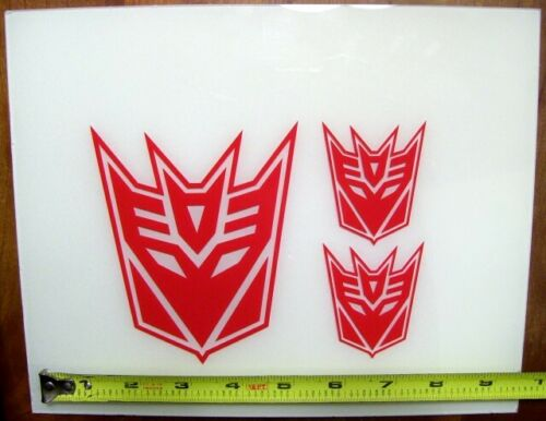 Decepticon Set of 3 HQ Single Color Vinyl Sticker Decals Transformers