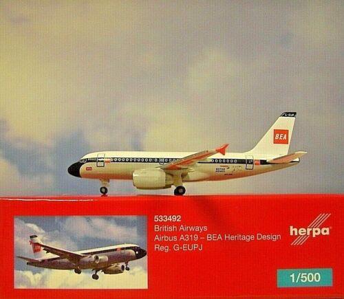 Herpa Wings 1:500  Airbus A319  Britsh Airways  G-EUPJ  533492  Modellairport500