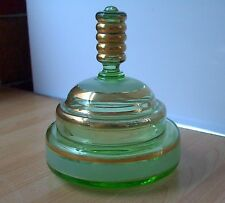 GOLD-RINGED GREEN GLASS FACE POWDER JAR, vintage, retro, shabby chic