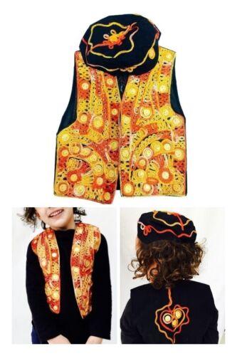 NUOVO 2 Pezzo Arancione Bolero Stravagante Kameez Eid Festa Pakistan Cappotto Hat Cap 2-3 anni