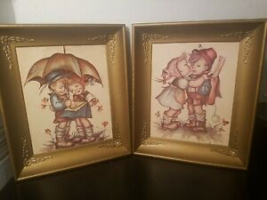 Vintage-Hummel-Framed-Prints-Boy-amp-Girl-Umbrella-Girl-Kissing-Boy-Signed-11x13