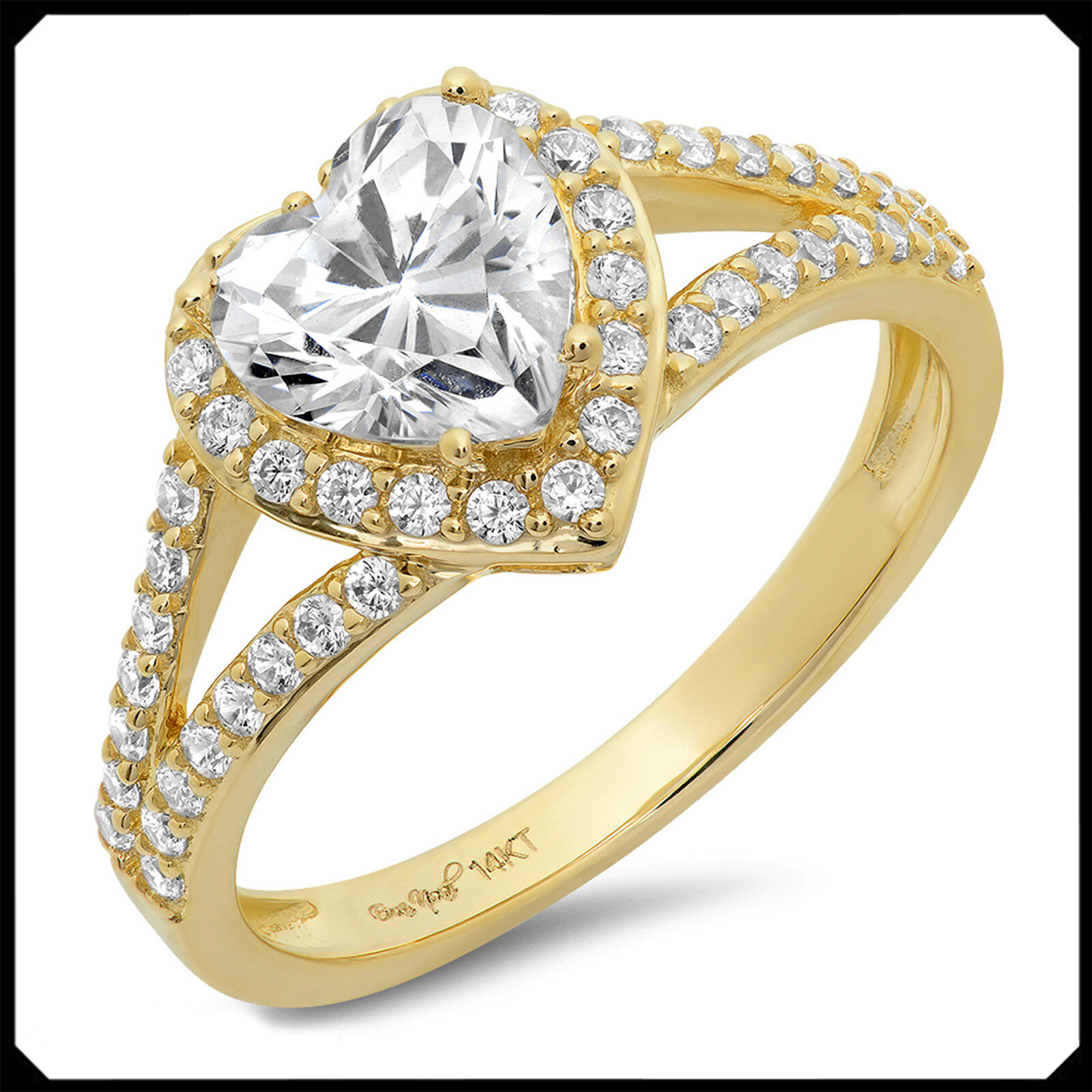 Mary 1.70CT HEART cut Diamond VVS1 Solid 14K Yellow gold Engagement Wedding Ring