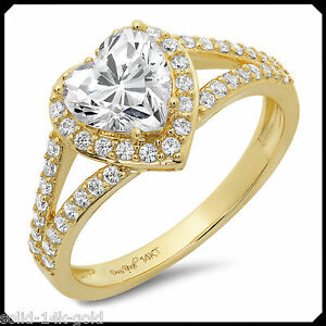 Mary-1-70CT-HEART-cut-Diamond-VVS1-Solid-14K-Yellow-GOLD-Engagement-Wedding-Ring