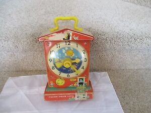 Vintage Fisher Price Teaching Clock 998 Music Box Works School Toy wood Nice fun