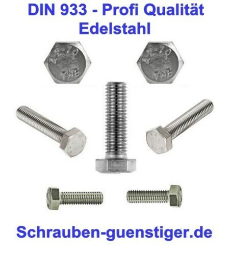 professionnel qualité 100 pcs hexagonal vis 5 mm DIN 933 m5 x 35 Acier Inoxydable v2a