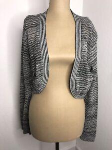 AGB-Womens-Shrug-Jacket-Sweater-Open-Front-Black-Metallic-Striped-Shiny-Size-XL