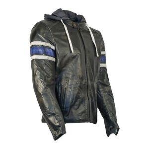 Richa-TOULON-a-capuche-retro-Veste-moto-cuir-Noir-Bleu