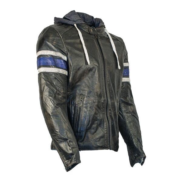 Richa TOULON à capuche rétro Veste moto cuir - Noir/Bleu
