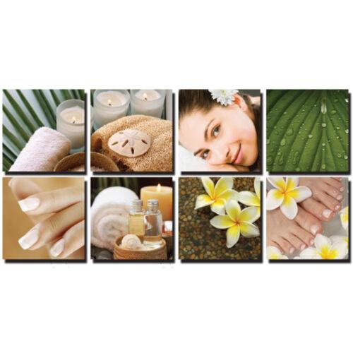 TROPICAL 8 Pc Beauty Salon Spa Massage Decal Decoration 24 x 24 Canvas Mural