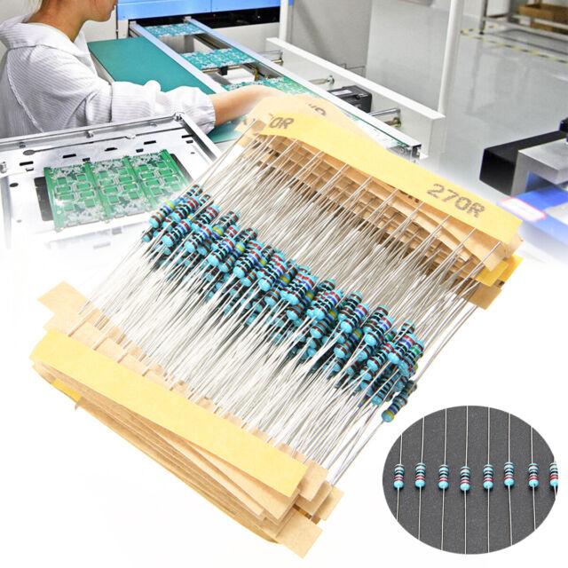 300Pcs 1/% 1//4W Metal Film Resistor Resistance 30 Values Assortment Kit
