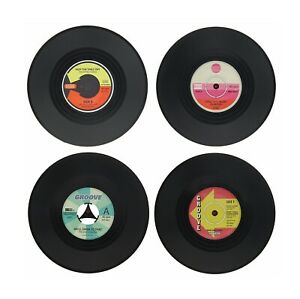 Set of 4 Vinyl Coaster Record CD Vintage Tableware Bar Coffee Table Mug