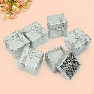 Wholesale Silver 24Pcs Ring Earring Jewelry Display Gift Box Bowknot Square Case