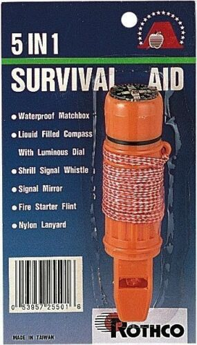 A Must Have For All Hiking /& Camping! Survivor Deluxe 5 In 1 Survival Aid Tool