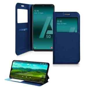 Coque Etui pour Samsung Galaxy A50 ,Housse Porte Protection A50 -Bleu