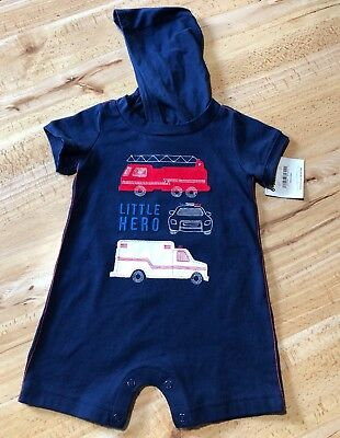 Child Of Mine Baby Boy's First Responders Hooded Romper New With Tags 6-9m