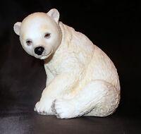 Polar Bear Cub Figurine Sitting Sculpture Wild Animals Poly Stone 4 High
