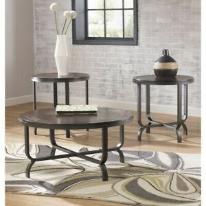 Merveilleux Image Is Loading Ashley Ferlin 3 Piece Round Coffee Table Set