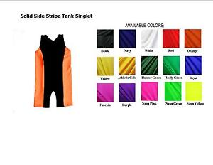 MENS EXTENDED SIZES TANK WRESTLING SINGLET WITH SIDE STRIPE - YOU CHOOSE COLORS