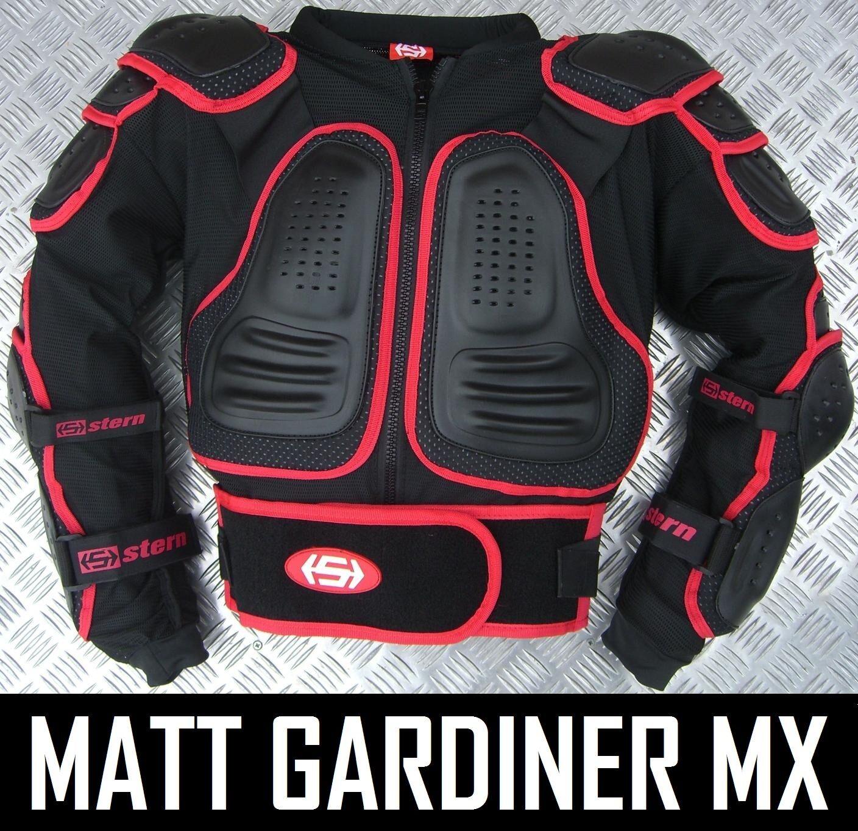 STERN 2 Motocross Enduro giubbotto antiproiettile Suit Bionico Giacca Nero Adulto Quad
