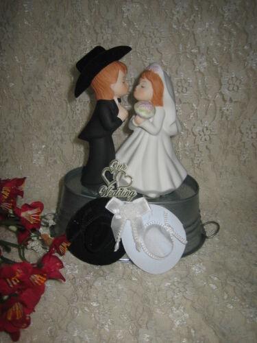 Wedding Reception Party Western Cowboy /& Bride Bucket of Love Cake Topper