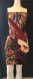 mary-katrantzou-Multicolor-Silk-Printed-Strapless-Short-dress
