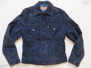 Levi-039-s-Jeans-Jacke-Lederjacke-Gr-M-Blau-RAR-Stil-Jeansjacke-Echt-Leder