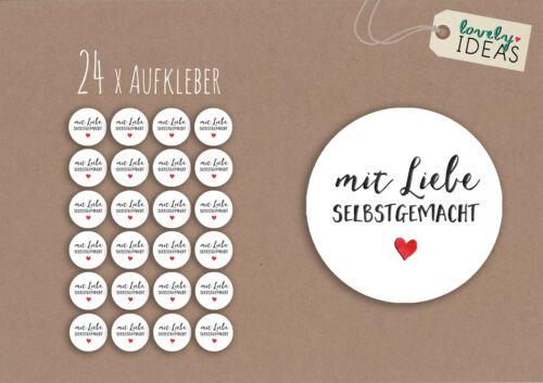 """24 x Geschenkaufkleber /""""mit Liebe selbstgemacht/"""" 40mm weiß Etiketten Aufkleber"""