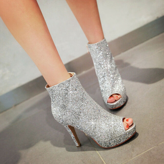 e8f564483 NICE Women Ankle Boots Bling Peep Toe Heels Party Club Boots Shoes Women  2-10.5