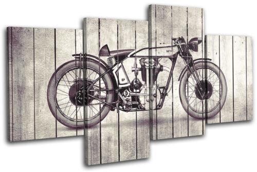 Motorbike Shabby Chic Transportation MULTI CANVAS WALL ART Picture Print