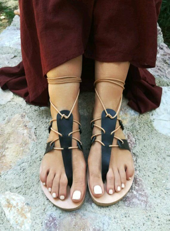 Ancient Greek Greek Greek style gladiator lace up leather sandals black leather handmade 4d2d2d