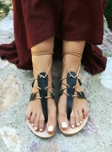 Ancient Greek style gladiator lace up leather sandals black leather ...