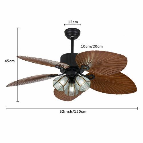 """52/"""" Tropisch Deckenventilator Licht Mit Fernbedienung 5 Wende-Holzklinge DHL"""