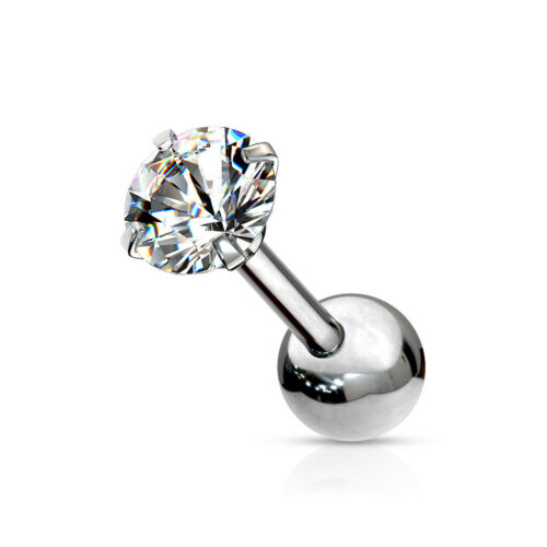 """1pc Round CZ Gem Ion Plated Tragus Stud Helix Cartilage Ring Earring 16g 1//4/"""""""