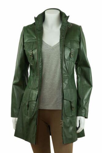 damas manga cremallera de verde cuero Chaqueta con en para de cuero larga verde clásica YvqxZ