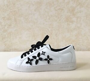 59adcf9d824384 Women MK Michael Kors Lola Lace Up Sneaker Leather Optic White/Black ...