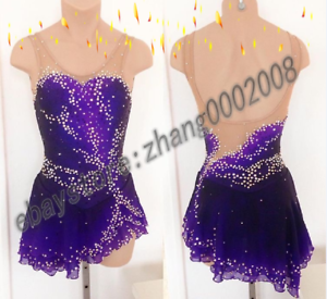 Ice Figure Skating Dress.Purple Stoned Competition Twirling Tap Dance Costume