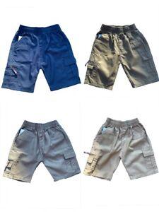 Pantaloncini-Ragazzi-Cotone-Chino-Estivo-al-Ginocchio-Bottoms-Kids-Pantaloni-Corti-con-Tasconi