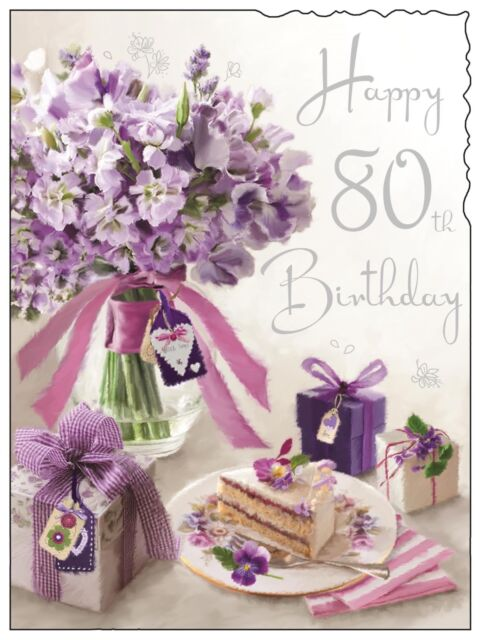 Jonny Javelin Female Age 80 Happy 80th Birthday Card Cake Flowers