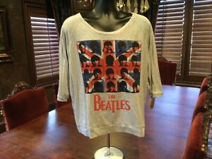 The Beatles Mid Sleeve Womens T Shirt. Gray. Scoop Neck. Size XXL Fitted