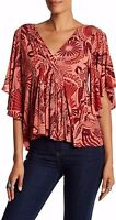 Free People Ob528492 'amour' Printed Elbow-lengthsleeve Blouse In Coral Combo