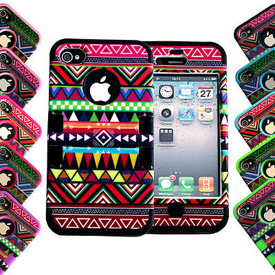 Retro AZTEC Tribal Full Body Hybrid Rubber Silicone Case Cover for iPhone 4 4S