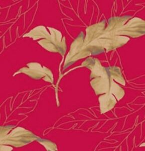 Wallpaper-Designer-Large-Tropical-Green-Palm-Leaves-on-Red-Background
