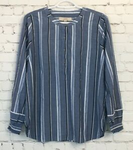 Loft-Womens-Shirt-Size-Small-Blue-Striped-Popover-Long-Sleeve-Banded-Collar