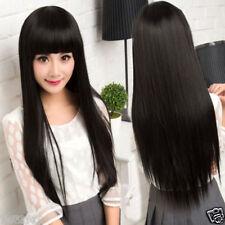 100% Real Hair! Classic Black Long Straight Human Hair Fashion Wig Hair